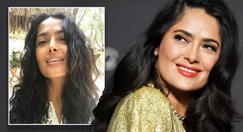 Salma Hayek took to Instagram to share a photo of her grey hair [Photo: Getty]