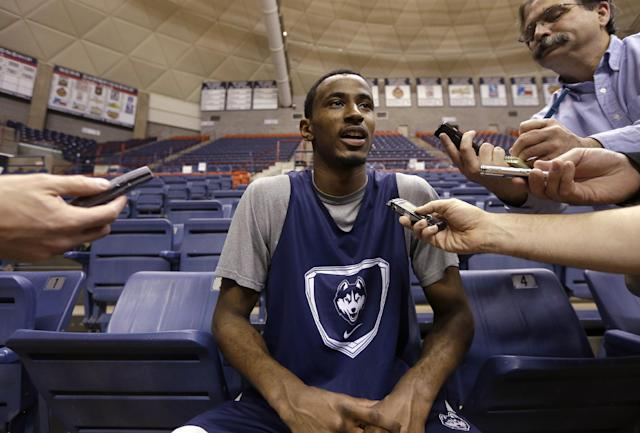Connecticut's DeAndre Daniels responds to a question following an NCAA college basketball team workout Tuesday, April 1, 2014, in Storrs, Conn. UConn will be playing Florida in the Final Four on Saturday in Dallas. (AP Photo/Steven Senne)
