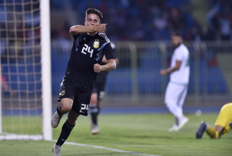 Argentina's Franco Cervi celebrates scoring his side's fourth goal during a friendly soccer match between Argentina and Iraq at Prince Faisal bin Fahd stadium in Riyadh, Saudi Arabia, Thursday, Oct. 11, 2018. (AP Photo)