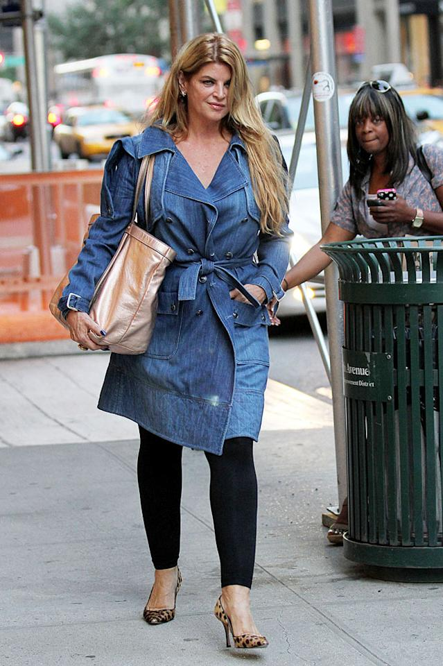 "Denim never goes out of style! Before <a href=""http://omg.yahoo.com/blogs/the-thread/kirstie-alley-60-stuns-on-runway/34"" target=""new"">hitting the runway</a> at the Zang Toi show during New York Fashion Week, a newly svelte Kirstie Alley was spotted in Manhattan strutting her stuff in a denim trench and leopard-print pumps. Lookin' good! Felipe Ramales/<a href=""http://www.PacificCoastNews.com"" target=""new"">PacificCoastNews.com</a> - September 9, 2011"