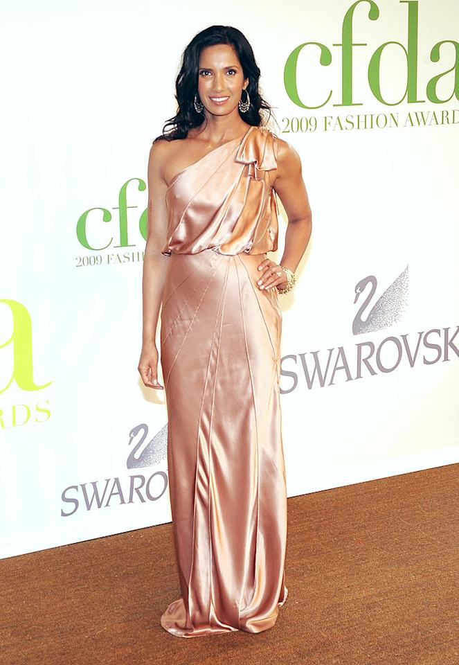 """""""Top Chef"""" hostess Padma Lakshmi looked absolutely delicious in a champagne-colored one-shouldered silk sensation. Jamie McCarthy/<a href=""""http://www.wireimage.com"""" target=""""new"""">WireImage.com</a> - June 15, 2009"""