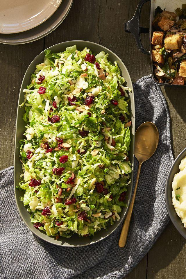 """<p>Or, thinly slice sprouts to use as the base of your side salad. No need to cook them, first! Just marinate sprouts in a lemony vinaigrette for 10 minutes and they will soften. </p><p><em><a href=""""https://www.goodhousekeeping.com/food-recipes/a41099/lemony-brussels-sprout-salad-recipe/"""" rel=""""nofollow noopener"""" target=""""_blank"""" data-ylk=""""slk:Get the recipe for Lemony Brussels Sprout Salad »"""" class=""""link rapid-noclick-resp"""">Get the recipe for Lemony Brussels Sprout Salad »</a></em></p><p><strong>RELATED: </strong><a href=""""https://www.goodhousekeeping.com/food-recipes/healthy/g180/healthy-salads/"""" rel=""""nofollow noopener"""" target=""""_blank"""" data-ylk=""""slk:31 Healthy Salads for a Very Filling, Very Un-boring Meal"""" class=""""link rapid-noclick-resp"""">31 Healthy Salads for a Very Filling, Very Un-boring Meal</a></p>"""