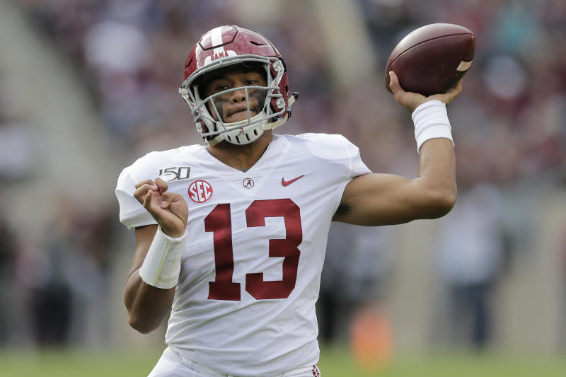 Alabama quarterback Tua Tagovailoa (13) passes against Texas A&M during the second half of an NCAA college football game, Saturday, Oct. 12, 2019, in College Station, Texas. (AP Photo/Sam Craft)