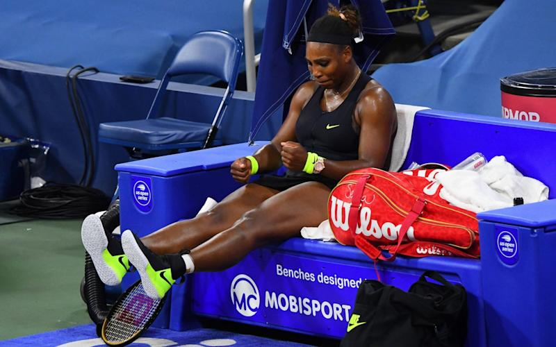 Flushing Meadows, New York, USA; Serena Williams (USA) reacts between sets during a match against Maria Sakkari (GRE) during the Western & Southern Open at the USTA Billie Jean King National Tennis Center - Robert Deutsch-USA TODAY Sports