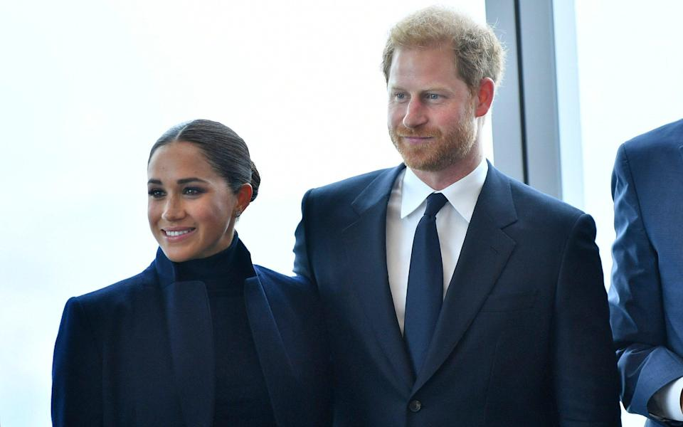 The Duke and Duchess were shown the view from the tower before posing for the press - Getty Images North America