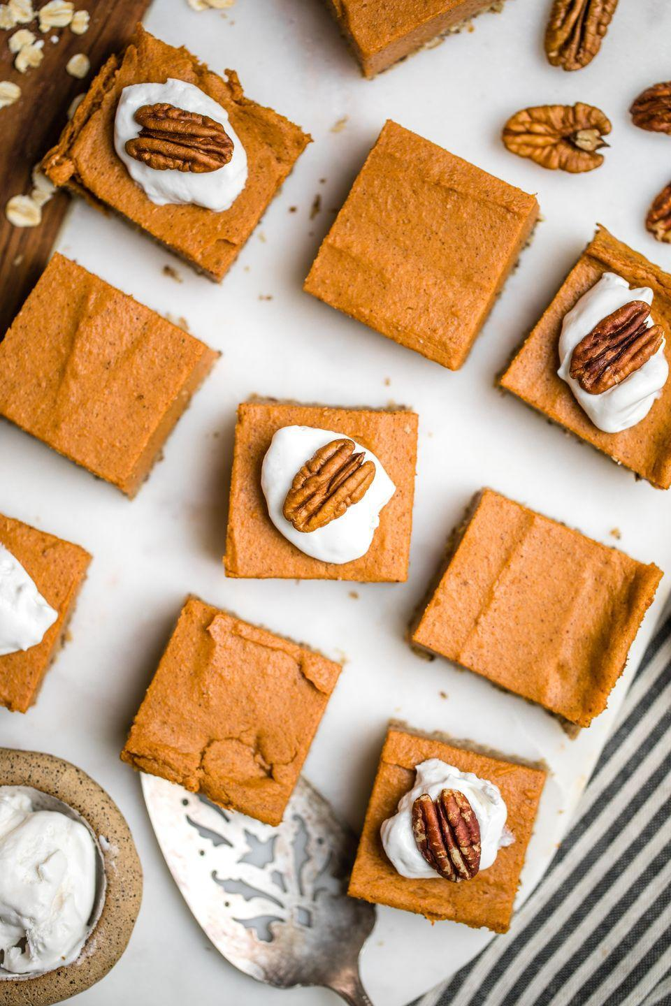 """<p>Looking for a sweet (potato) treat for dessert? You've found it in these completely gluten-free pie bars topped with pecans and whipped cream.</p><p><strong>Get the recipe at <a href=""""https://frommybowl.com/sweet-potato-pie-bars/"""" rel=""""nofollow noopener"""" target=""""_blank"""" data-ylk=""""slk:From My Bowl"""" class=""""link rapid-noclick-resp"""">From My Bowl</a>.</strong></p><p><a class=""""link rapid-noclick-resp"""" href=""""https://www.amazon.com/Nordic-Ware-Natural-Aluminum-Commercial/dp/B0064OM53G/?tag=syn-yahoo-20&ascsubtag=%5Bartid%7C10050.g.877%5Bsrc%7Cyahoo-us"""" rel=""""nofollow noopener"""" target=""""_blank"""" data-ylk=""""slk:SHOP BAKING SHEETS"""">SHOP BAKING SHEETS</a></p>"""