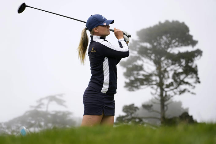 Matilda Castren, of Finland, tees off on the fifth hole at Lake Merced Golf Club during the final round of the LPGA Mediheal Championship golf tournament Sunday, June 13, 2021, in Daly City, Calif. (AP Photo/Tony Avelar)