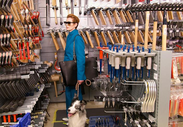 """Tilda Swinton stars as a woman who goes shopping for an ax with her ex's dog in the Pedro Almodóvar short film """"The Human Voice."""""""