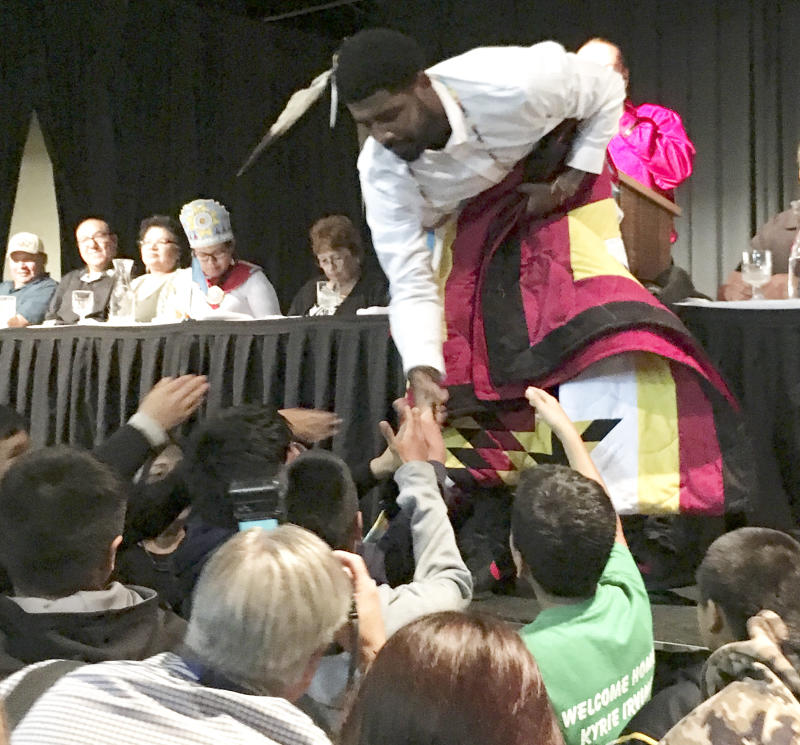 6070ab4ef772 Kyrie Irving embraces his Sioux roots with visit to Standing Rock