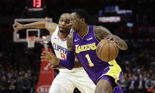 "<span class=""element-image__caption"">The Lakers' Kentavious Caldwell-Pope the Clippers' CJ Williams. </span> <span class=""element-image__credit"">Photograph: Jae C. Hong/AP</span>"
