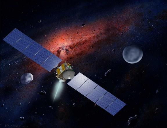 An artist's concept of NASA's Dawn spacecraft. The asteroid Vesta, which the craft has already left, is on the left. Dawn will reach Ceres, shown on the right, in March 2015.
