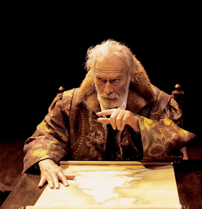 Christopher Plummer onstage as King Lear in 2002.