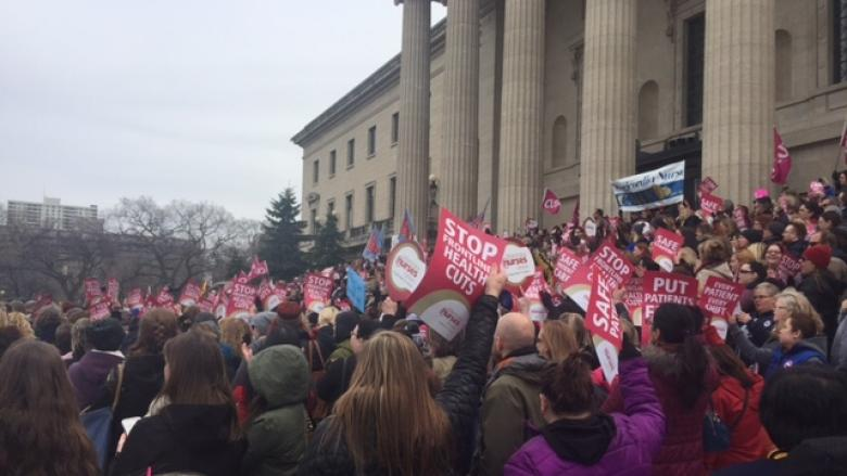 Hundreds of Manitoba nurses rally against health-care cuts