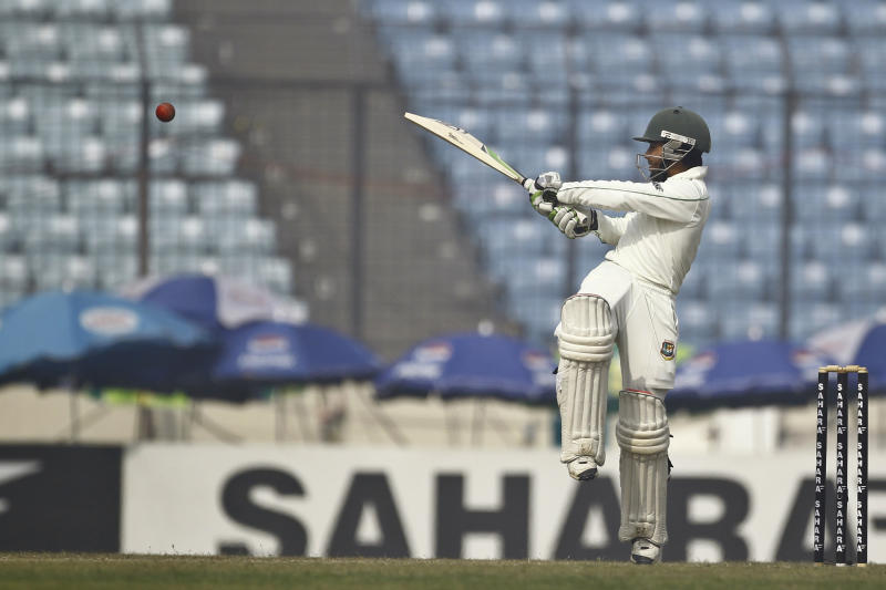 Bangladesh's Mominul Haque plays a shot on the fourth day of their first test cricket match against Sri Lanka in Dhaka, Bangladesh, Thursday, Jan. 30, 2014. (AP Photo/A.M. Ahad)