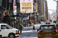 NEW YORK, May 4, 2020 -- Photo taken on May 4, 2020 shows Times Square in New York, the United States. Amid the ongoing COVID-19 pandemic, New York Governnor Andrew Cuomo on Monday outlined additional guidelines regarding when regions can reopen. According to the Governor's Press Office, the state will monitor four core factors to determine if a region can reopen: number of new infections, health care capacity, diagnostic testing capacity and contact tracing capacity. (Photo by Wang Ying/Xinhua via Getty) (Xinhua/Wang Ying via Getty Images)