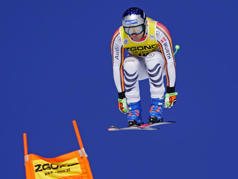 Thomas Dressen of Germany skis down the course during the men's World Cup downhill ski race in Lake Louise, Alberta, Canada, on Saturday, Nov. 30, 2019. (Frank Gunn/The Canadian Press via AP)