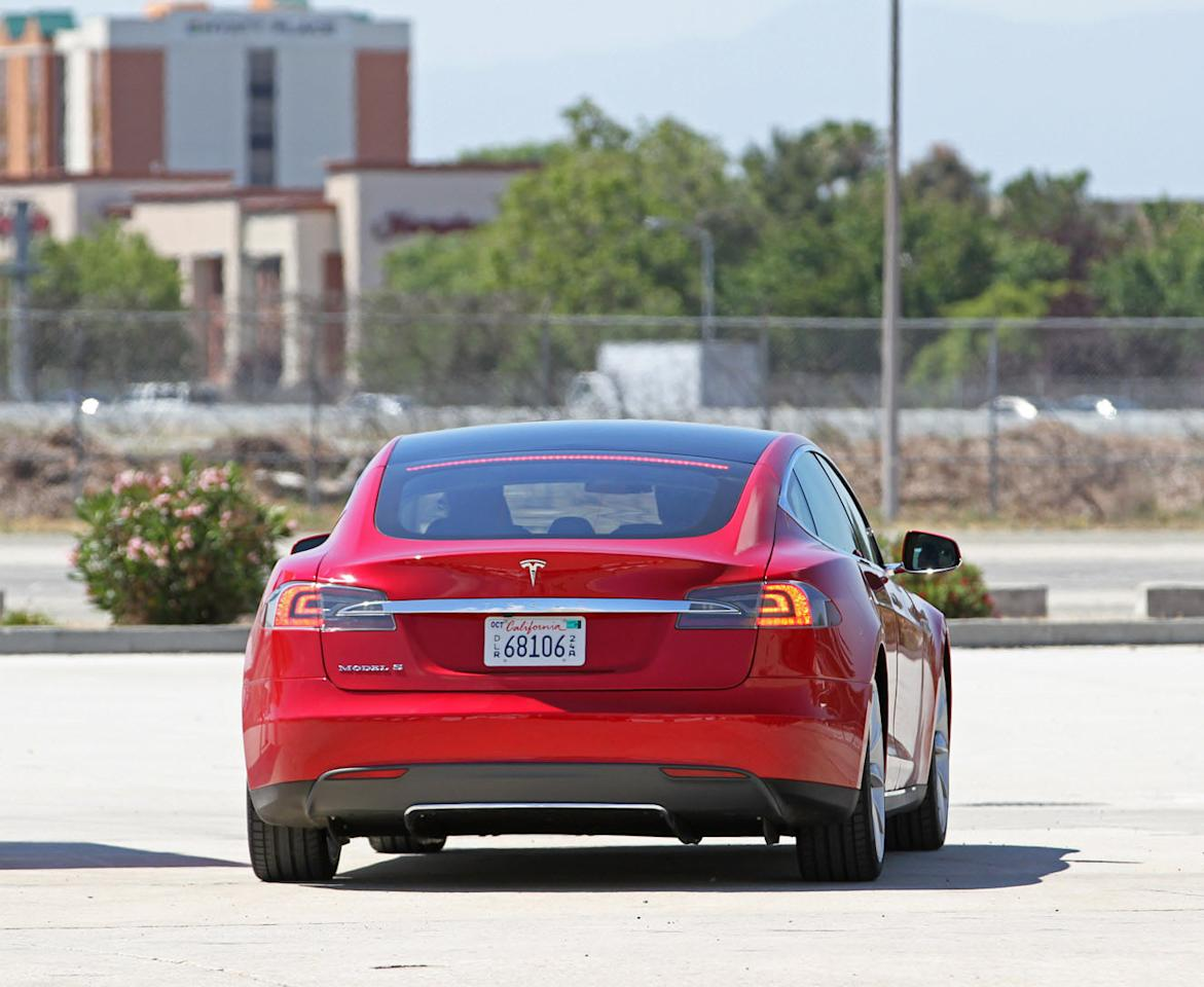 A view of the Tesla Model S from behind.