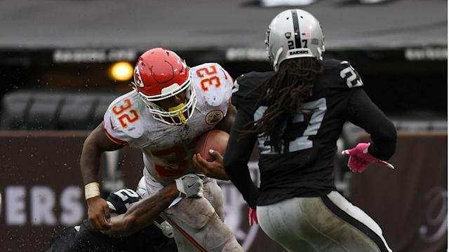 The Cheifs rushed for 183 yards and three touchdowns in a 26-10 road win over the Raiders.