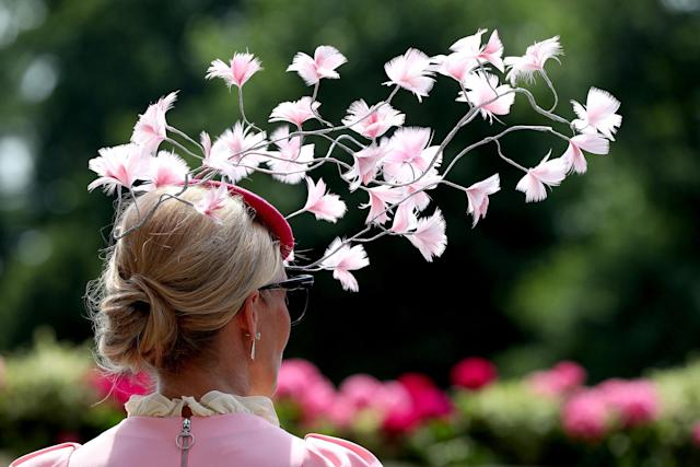 <p>A female racegoer's floral fascinator during day two of Royal Ascot at Ascot Racecourse on June 21, 2017. (Jonathan Brady/PA Images via Getty Images) </p>
