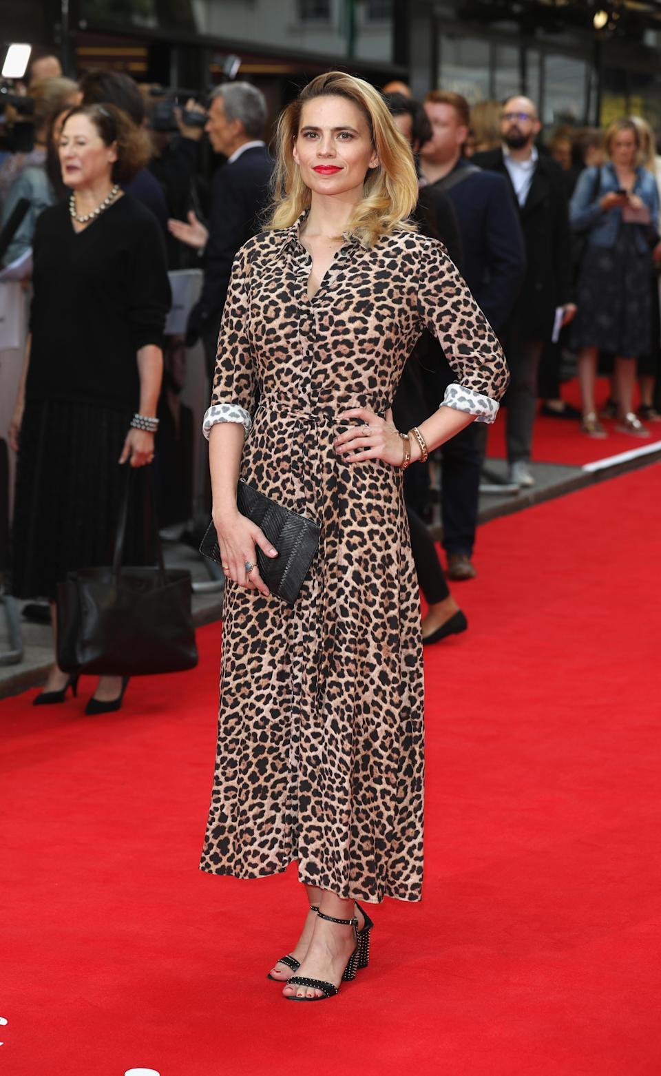 <p>The British star worked one of this season's most coveted prints; a leopard print midi dress. <em>[Photo: Getty]</em> </p>