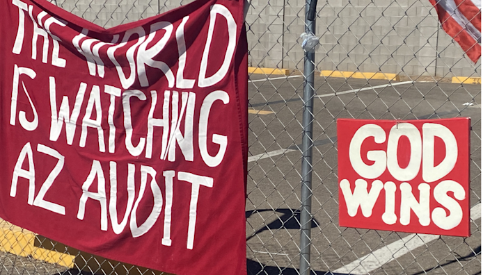 Signs outside the Arizona audit
