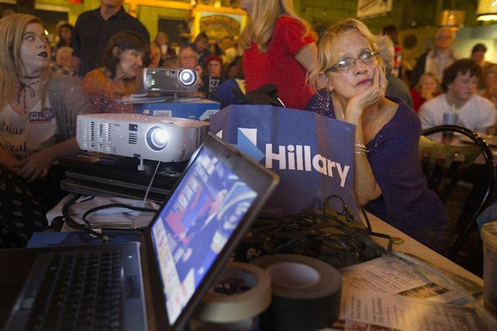 <p>Hillary Clinton supporter Susan Urshan looks at a screen showing national returns as Republican Donald Trump takes the lead in the presidential race, during a Democratic watch party in Eugene, Ore., Nov. 8, 2016. (Photo: Chris Pietsch/The Register-Guard via AP) </p>