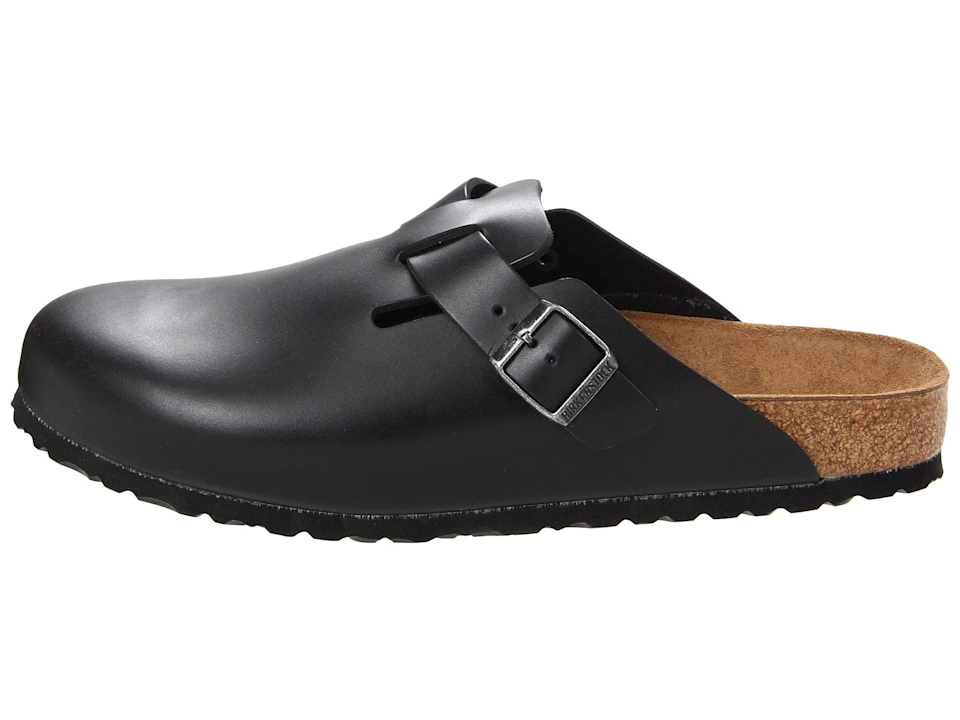 "<br><br><strong>Birkenstock</strong> Boston Soft Footbed, $, available at <a href=""https://go.skimresources.com/?id=30283X879131&url=https%3A%2F%2Fwww.zappos.com%2Fp%2Fbirkenstock-boston-soft-footbed-unisex-black-amalfi-leather%2Fproduct%2F7174310%2Fcolor%2F364610%3Fzlfid%3D191%26ref%3Dpd_detail_1_sims_cp_c"" rel=""nofollow noopener"" target=""_blank"" data-ylk=""slk:Birkenstock"" class=""link rapid-noclick-resp"">Birkenstock</a>"