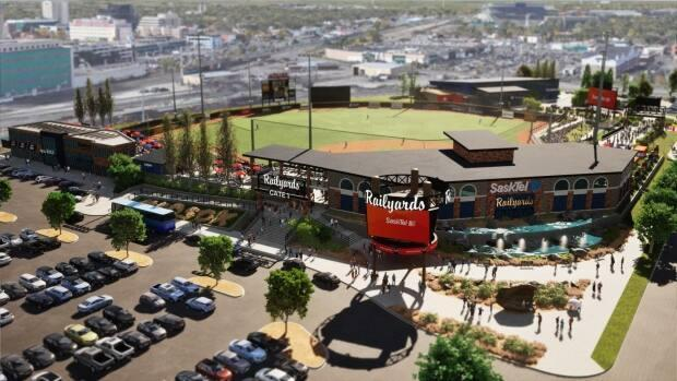 The proposed stadium would be in the railyards area along Dewdney Avenue in the Warehouse District.  (Submitted by Regina Red Sox Baseball Club - image credit)