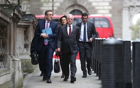 Representatives of the Board of Deputies of British Jews and the Jewish Leadership Council (JLC) arrive at the Houses of Parliament for talks with Jeremy Corbyn