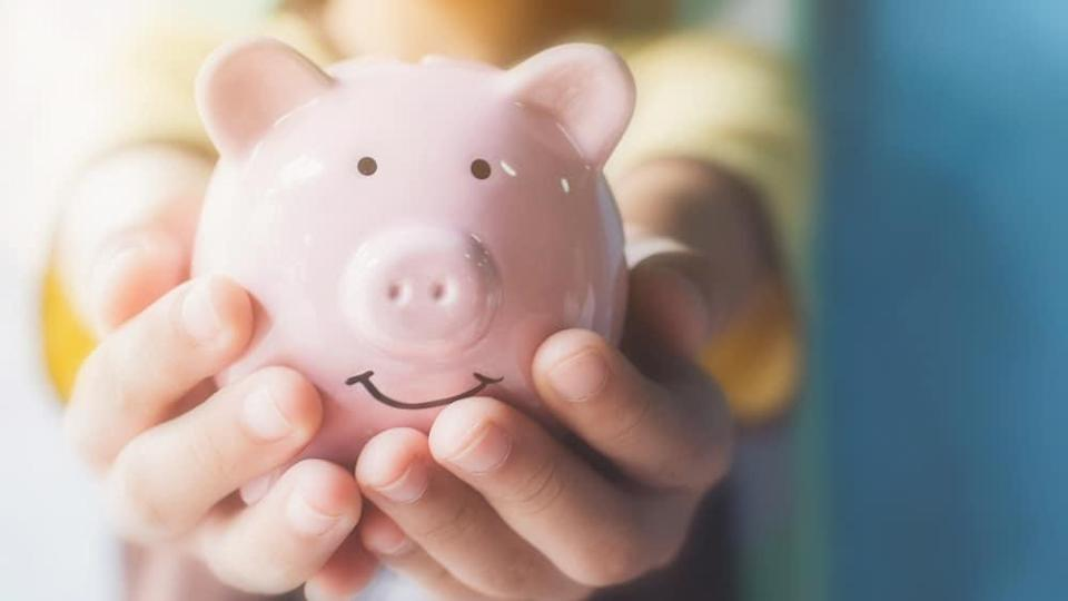 Female hand holding piggy bank. Save money and financial investment