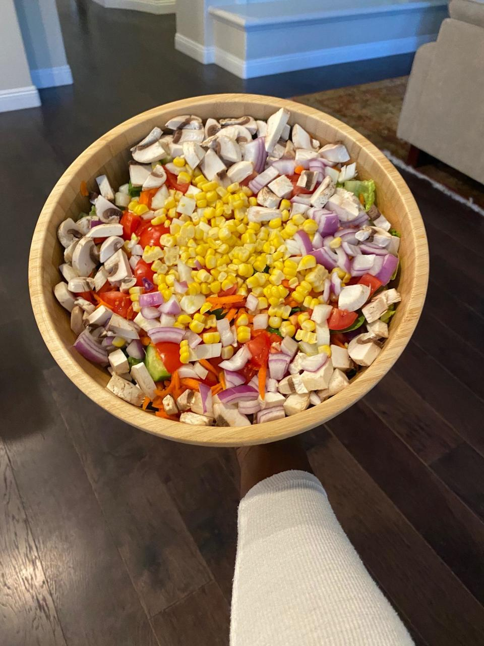"""<div class=""""caption""""> Hubby made sure I got some veggies to balance the sweets - fully loaded romaine and veggie salad. </div> <cite class=""""credit"""">Photo courtesy of Keri Shahidi</cite>"""