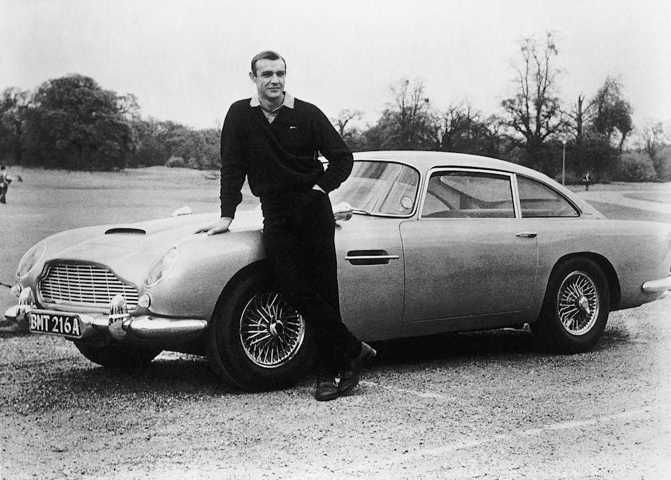 <p>Another shot of Connery with the DB5 on the set of Goldfinger. </p>