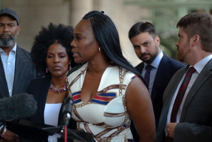 Crystal Mason stands outside the Tim Curry Criminal Justice Center in Fort Worth, Texas, after an appeals hearing in September. (Photo: Izzy Best / HuffPost)