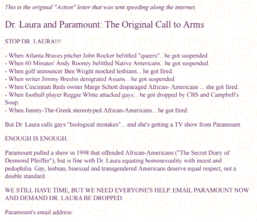 The email that went viral and helped take down conservative talk-show host Dr. Laura in 2000. (Courtesy of John Aravosis)