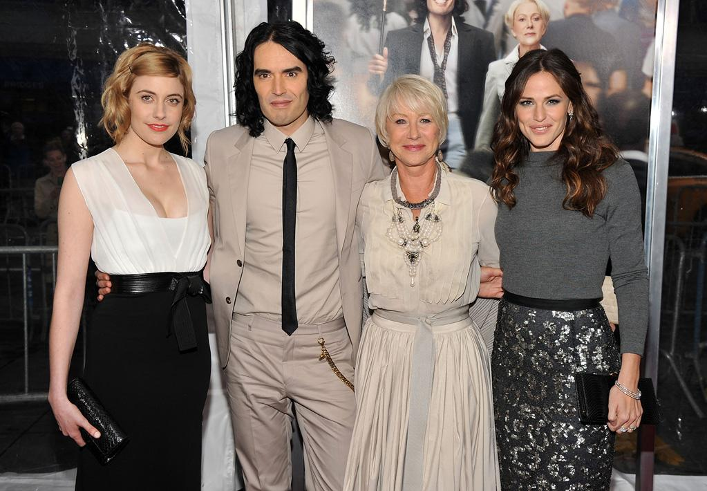 """<a href=""""http://movies.yahoo.com/movie/contributor/1809747218"""">Greta Gerwig</a>, <a href=""""http://movies.yahoo.com/movie/contributor/1809838319"""">Russell Brand</a>, <a href=""""http://movies.yahoo.com/movie/contributor/1800011130"""">Helen Mirren</a> and <a href=""""http://movies.yahoo.com/movie/contributor/1800338890"""">Jennifer Garner</a> attend the New York City premiere of <a href=""""http://movies.yahoo.com/movie/1810167411/info"""">Arthur</a> on April 5, 2011."""