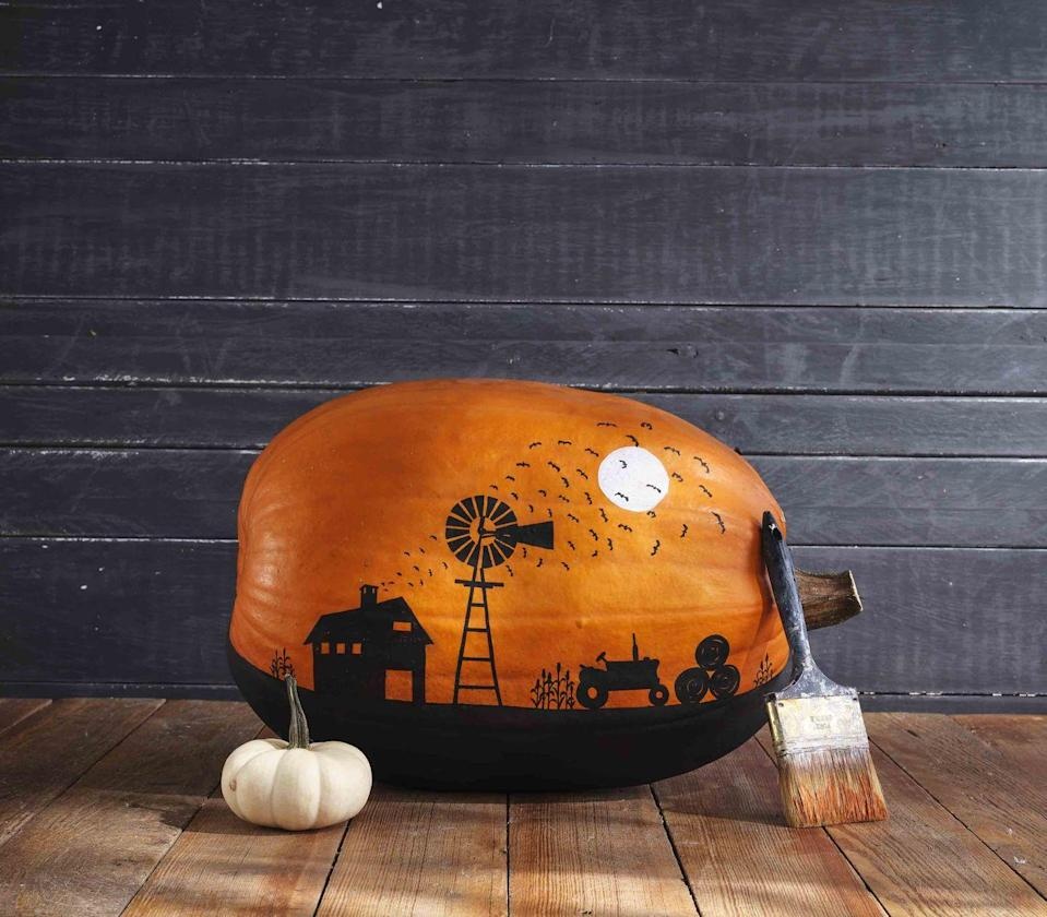 <p>A full moon watches over a swarm of bats in this pumpkin painted with a farm scene. <strong><br></strong></p><p><strong>Make the pumpkin:</strong> Lay a large oblong pumpkin on its side and lightly draw a line the length of the pumpkin one-third of the way from the bottom. Lightly draw a farm scene (barn, windmill, moon, tractor, and hay bales) above the line. Paint the bottom third of the pumpkin with black acrylic paint, using the line as a guide. Use a white paint pen to color in the moon. Use a gray paint pen to add detail to the moon, if desired. Use black paint pen to color in the scene, free handing corn stalks and flying bats. </p>