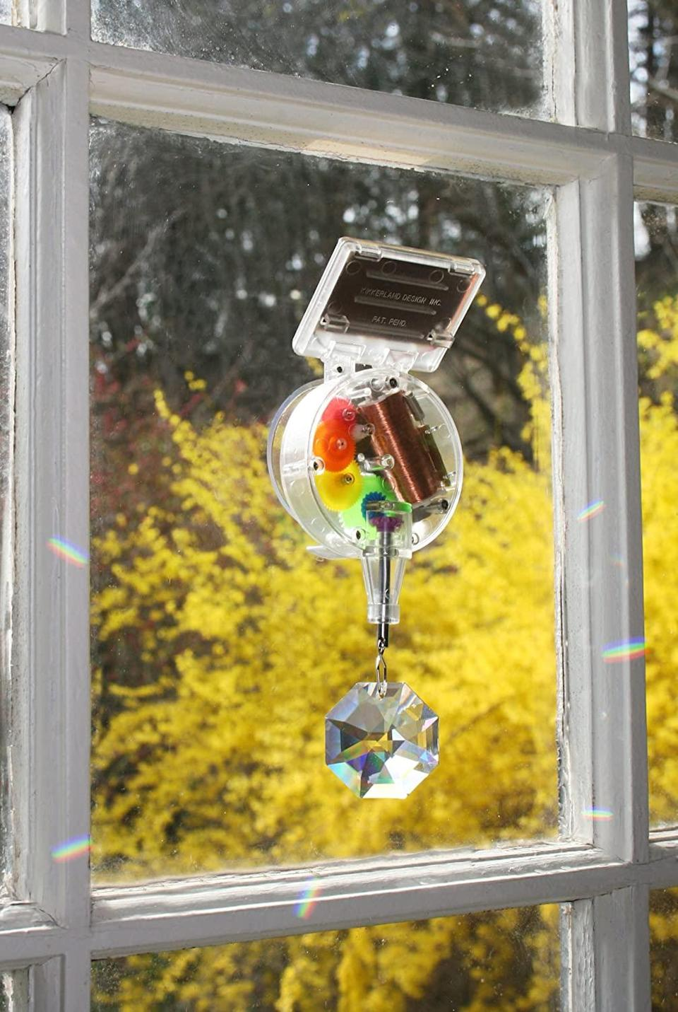 """<h2>Kikkerland Solar-Powered Rainbow Maker<br></h2><br>Help a friend make the most of their indoor space — and the precious winter sun — with this dazzling, rainbow-ready window accent.<br><br><strong>Kikkerland</strong> Solar-Powered Rainbow Maker, $, available at <a href=""""https://www.amazon.com/Kikkerland-1588-Solar-Powered-Rainbow-Maker/dp/B000068UG6"""" rel=""""nofollow noopener"""" target=""""_blank"""" data-ylk=""""slk:Amazon"""" class=""""link rapid-noclick-resp"""">Amazon</a>"""