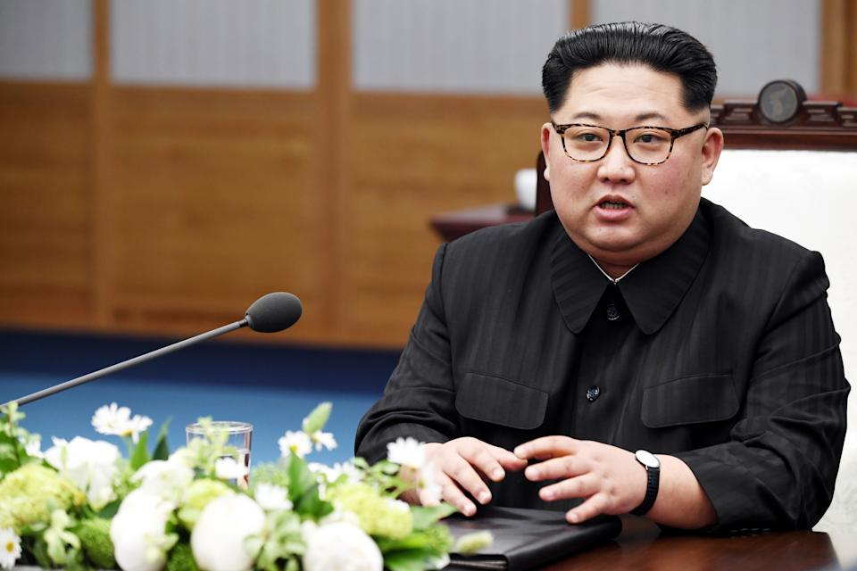 North Koraen Leader Kim Jong Un speaks during the Inter-Korean Summit at the Peace House on April 27, 2018 in Panmunjom, South Korea.