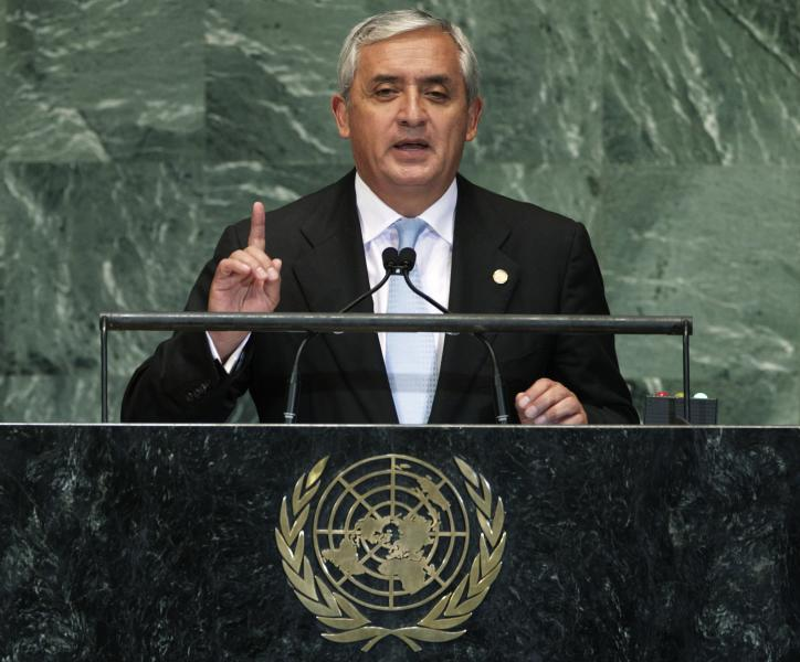 Guatemala's President Otto Perez Molina addresses the 67th session of the United Nations General Assembly at U.N. headquarters Wednesday, Sept. 26, 2012. (AP Photo/Frank Franklin II)