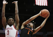 Oregon State guard Stephen Thompson Jr. (1) shoots while defended by Washington State forward Robert Franks Jr. (3) during the first half of an NCAA college basketball game in Pullman, Wash., Saturday, March 9, 2019. (AP Photo/Young Kwak)