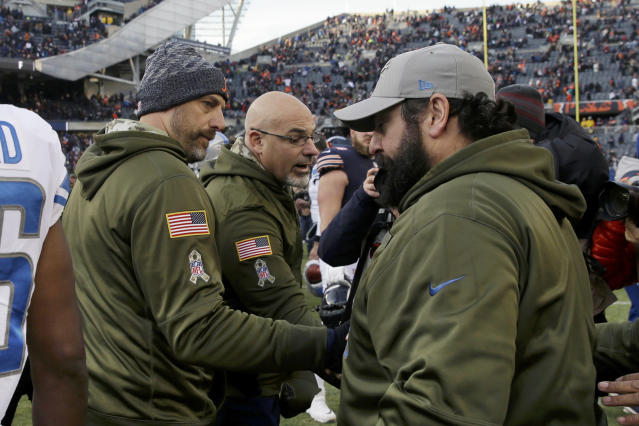 Chicago Bears head coach Matt Nagy, left, greets Detroit Lions head coach Matt Patricia after an NFL football game Sunday, Nov. 11, 2018, in Chicago. The Bears won 34-22. (AP Photo/David Banks)