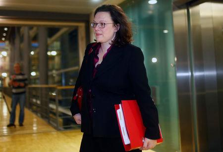 Social Democratic Party (SPD) parliamentary group leader Andrea Nahles arrives for talks to form a new government in Berlin, Germany, December 20, 2017. REUTERS/Hannibal Hanschke