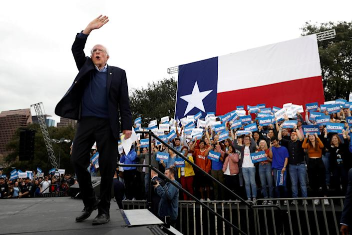 Bernie Sanders at a campaign rally in Austin, Texas, on Sunday. (Mike Segar/Reuters)