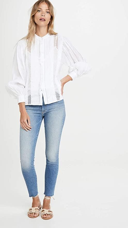 """<p>The light wash of these <a href=""""https://www.popsugar.com/buy/Mother-High-Waisted-Looker-Ankle-Fray-Jeans-583840?p_name=Mother%20High%20Waisted%20Looker%20Ankle%20Fray%20Jeans&retailer=amazon.com&pid=583840&price=171&evar1=fab%3Aus&evar9=47565691&evar98=https%3A%2F%2Fwww.popsugar.com%2Fphoto-gallery%2F47565691%2Fimage%2F47565694%2FMother-High-Waisted-Looker-Ankle-Fray-Jeans&list1=shopping%2Camazon%2Cdenim%2Csale%2Cget%20the%20look%2Cmeghan%20markle%2Csale%20shopping%2Ccelebrity%20style&prop13=api&pdata=1"""" class=""""link rapid-noclick-resp"""" rel=""""nofollow noopener"""" target=""""_blank"""" data-ylk=""""slk:Mother High Waisted Looker Ankle Fray Jeans"""">Mother High Waisted Looker Ankle Fray Jeans</a> ($171, originally $228) is perfect for summer.</p>"""