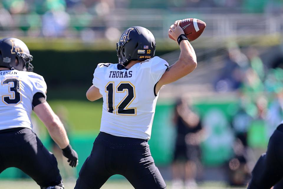 Appalachian State QB Zac Thomas is off to a bit of a slow start in 2020. (Photo by Frank Jansky/Icon Sportswire via Getty Images)