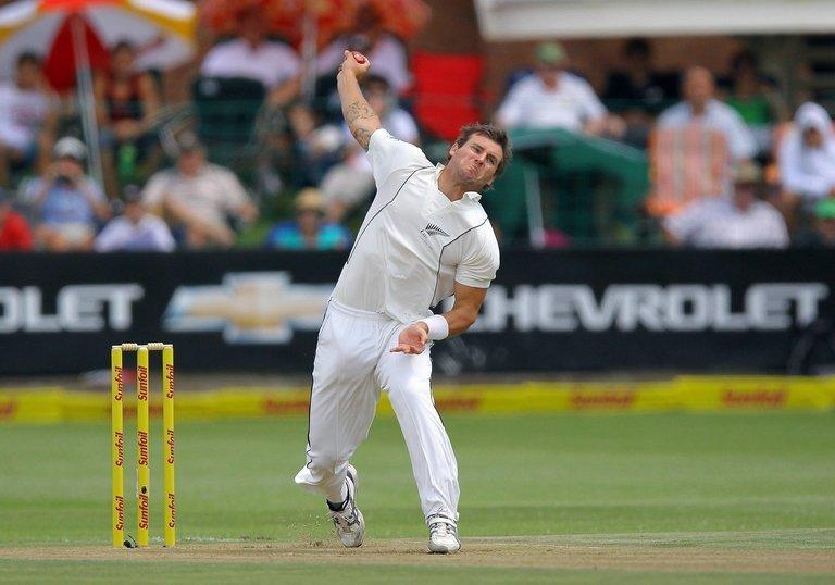 New Zealand's Doug Bracewell bowls during a cricket match in Port Elizabeth, South Africa on January 11, 2013