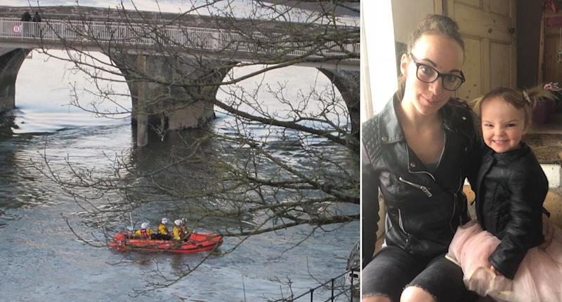 Two-year-old Kiara Moore, pictured with her mother Kim Rowlands, died after being pulled from a river (Pictures: Wales News Service)