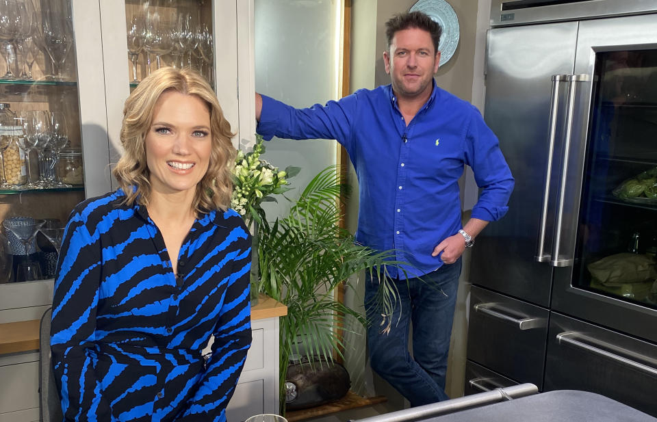 Charlotte Hawkins and James Martin. James is back in the kitchen on a Saturday morning where he's serving up a feast of fantastic food for Good Morning Britain's Charlotte Hawkins. (ITV)