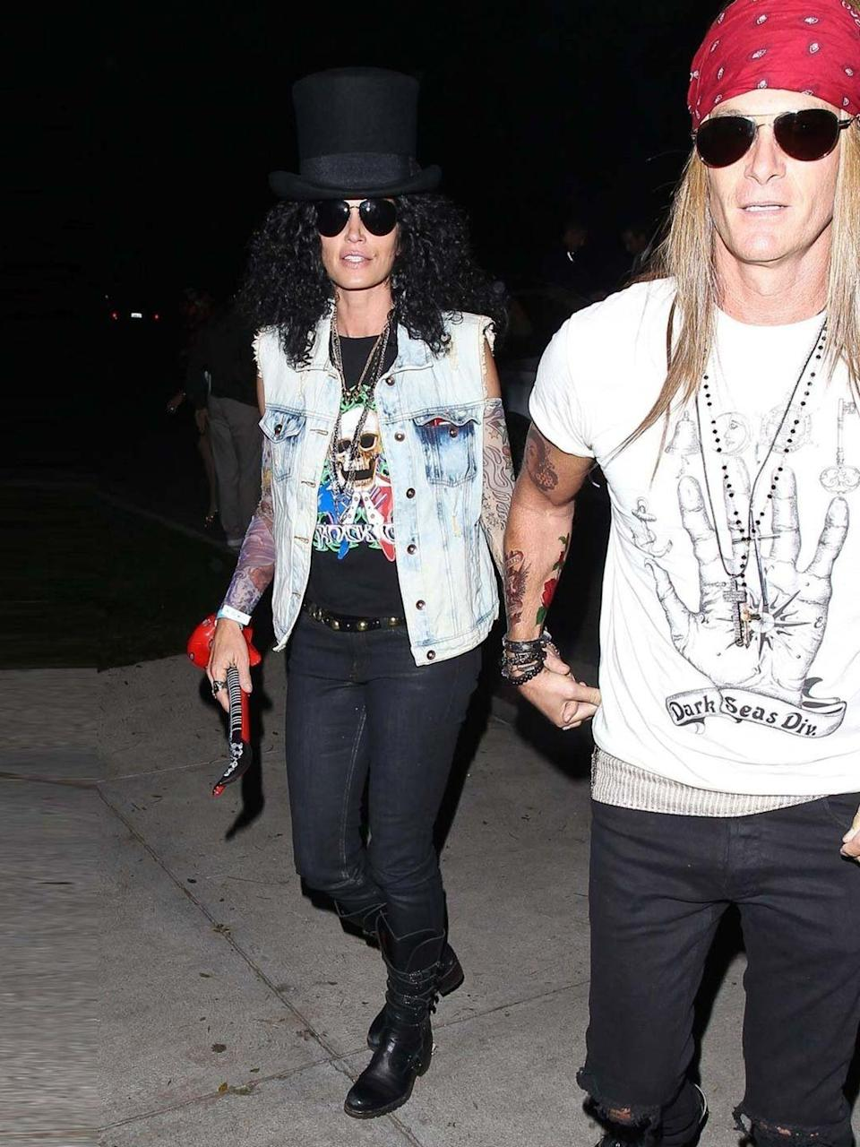 <p>Cindy Crawford and Rande Gerber attended a Halloween party in Beverly Hills, October 2013. </p>