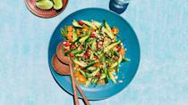 """<a href=""""https://www.bonappetit.com/recipe/cucumber-tomato-and-green-bean-salad?mbid=synd_yahoo_rss"""" rel=""""nofollow noopener"""" target=""""_blank"""" data-ylk=""""slk:See recipe."""" class=""""link rapid-noclick-resp"""">See recipe.</a>"""